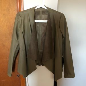 Zara olive green leather jacket